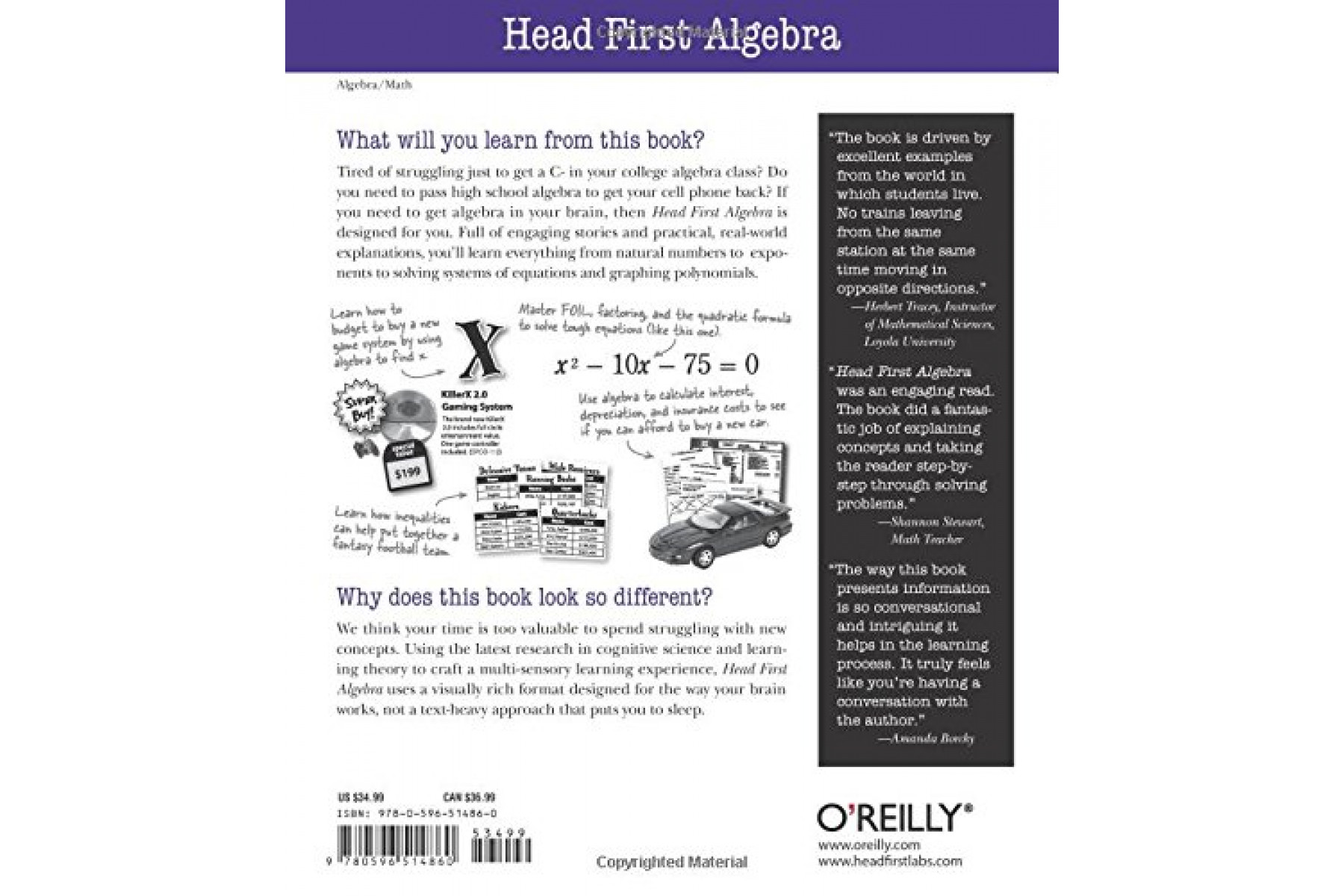 Head First Algebra: A Learner's Guide to Algebra